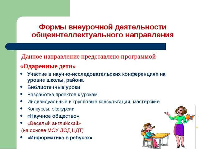 Формы внеурочной деятельности общеинтеллектуального направления Данное напра...