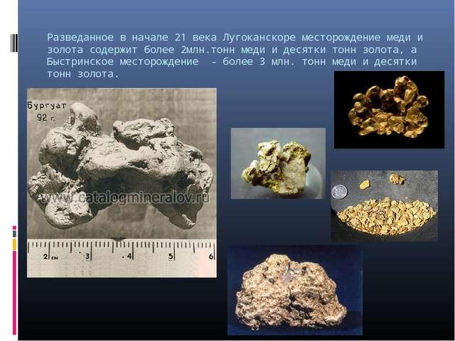 Разведанное в начале 21 века Лугоканскоре месторождение меди и золота содержи...