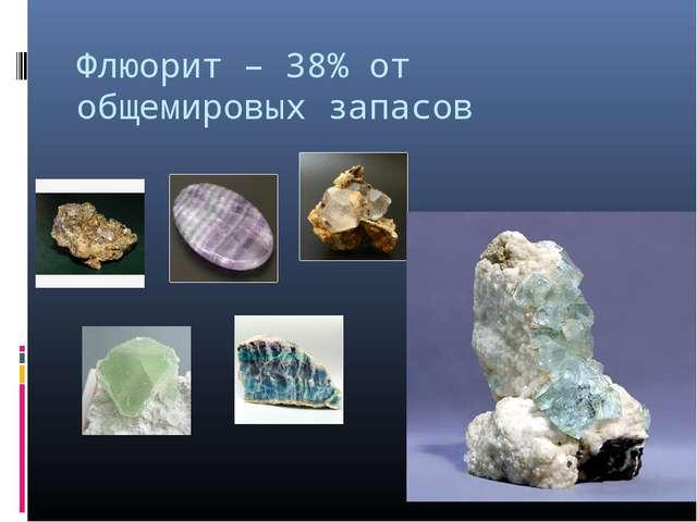 Флюорит – 38% от общемировых запасов
