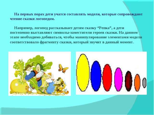 На первых порах дети учатся составлять модели, которые сопровождают чтение ск...