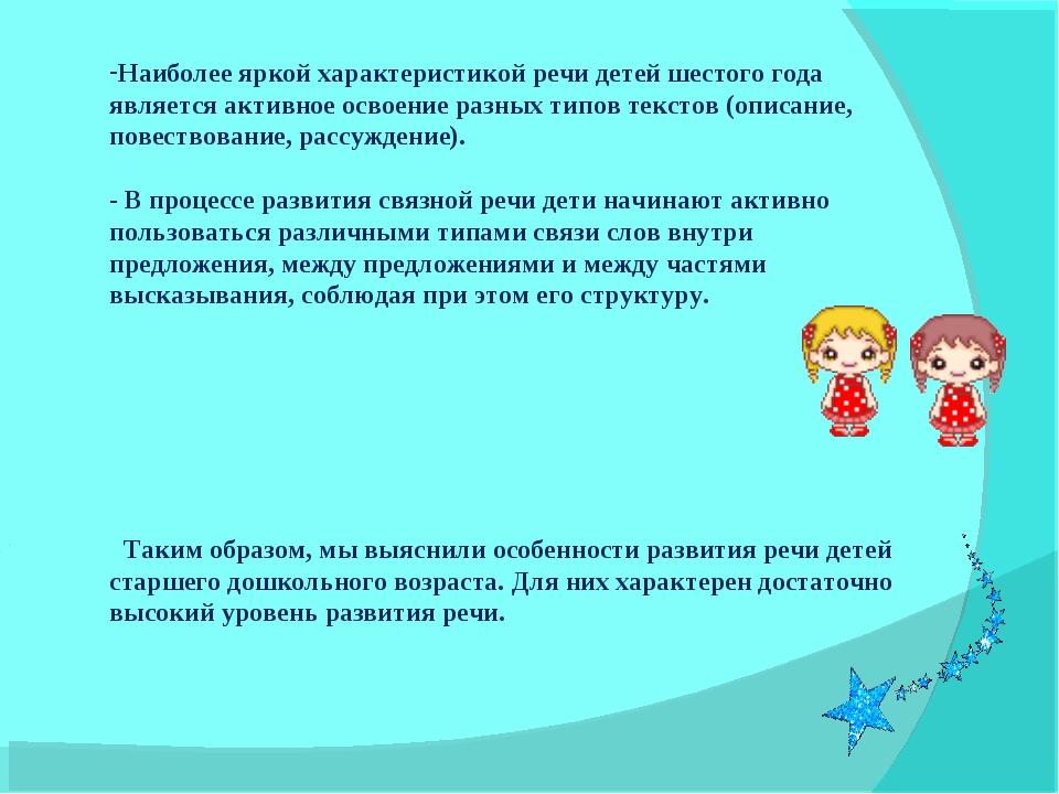 Наиболее яркой характеристикой речи детей шестого года является активное осво...