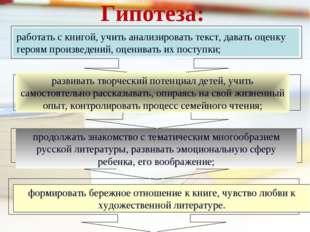 Гипотеза: работать с книгой, учить анализировать текст, давать оценку героям