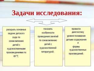Задачи исследования:  раскрыть основные задачи детского сада по ознакомлению