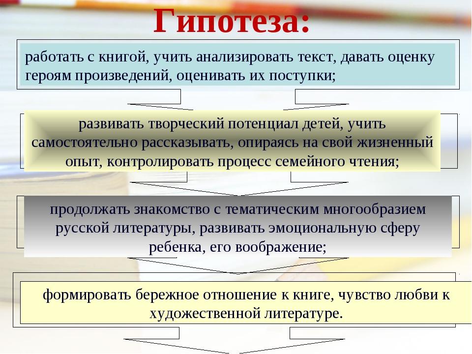 Гипотеза: работать с книгой, учить анализировать текст, давать оценку героям...