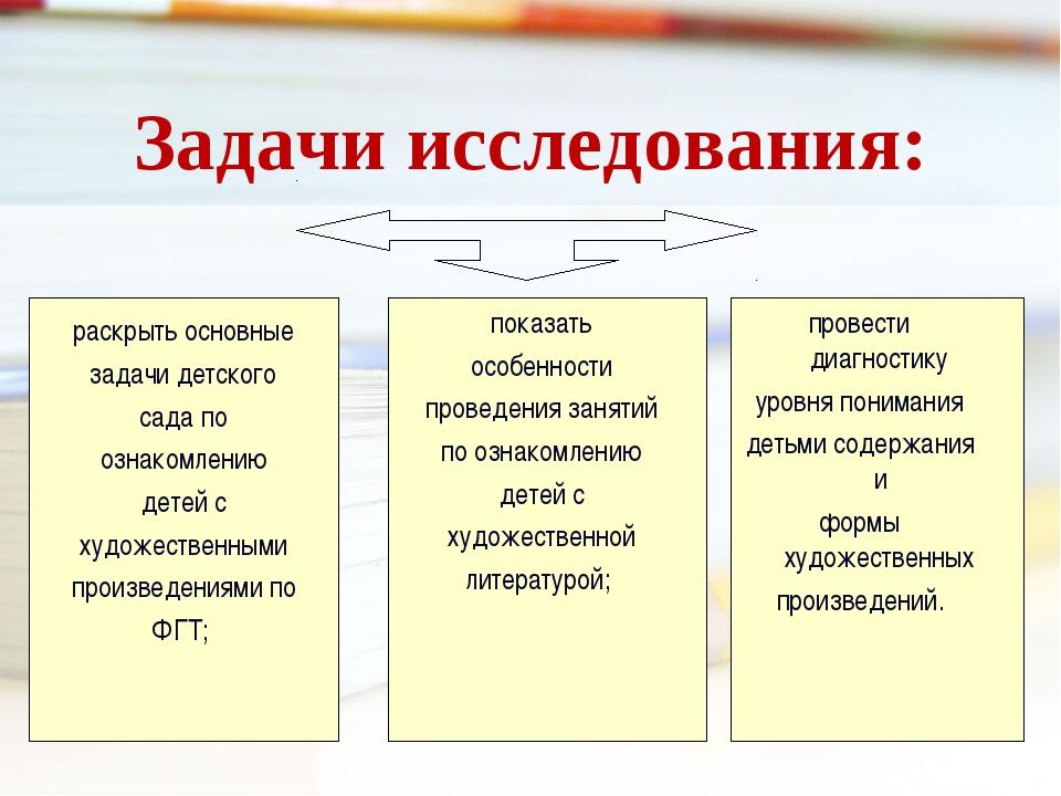 Задачи исследования:  раскрыть основные задачи детского сада по ознакомлению...