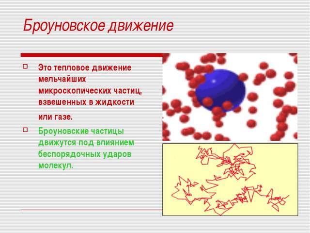 Броуновское движение Это тепловое движение мельчайших микроскопических частиц...
