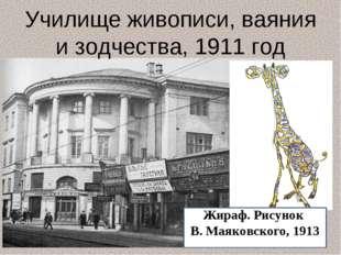 Жираф. Рисунок В. Маяковского, 1913 913 Училище живописи, ваяния и зодчества,