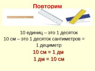 Повторим 10 единиц – это 1 десяток 10 см – это 1 десяток сантиметров = 1 деци