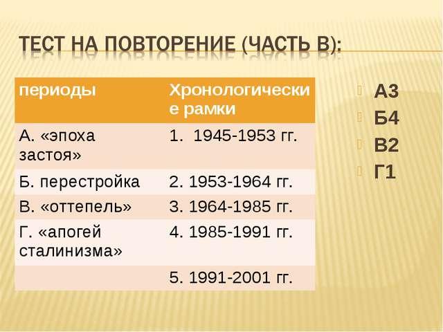 А3 Б4 В2 Г1 периодыХронологические рамки А. «эпоха застоя»1. 1945-1953 гг....