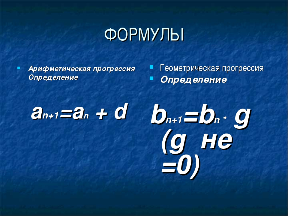 ФОРМУЛЫ Арифметическая прогрессия Определение an+1=an + d Геометрическая прог...