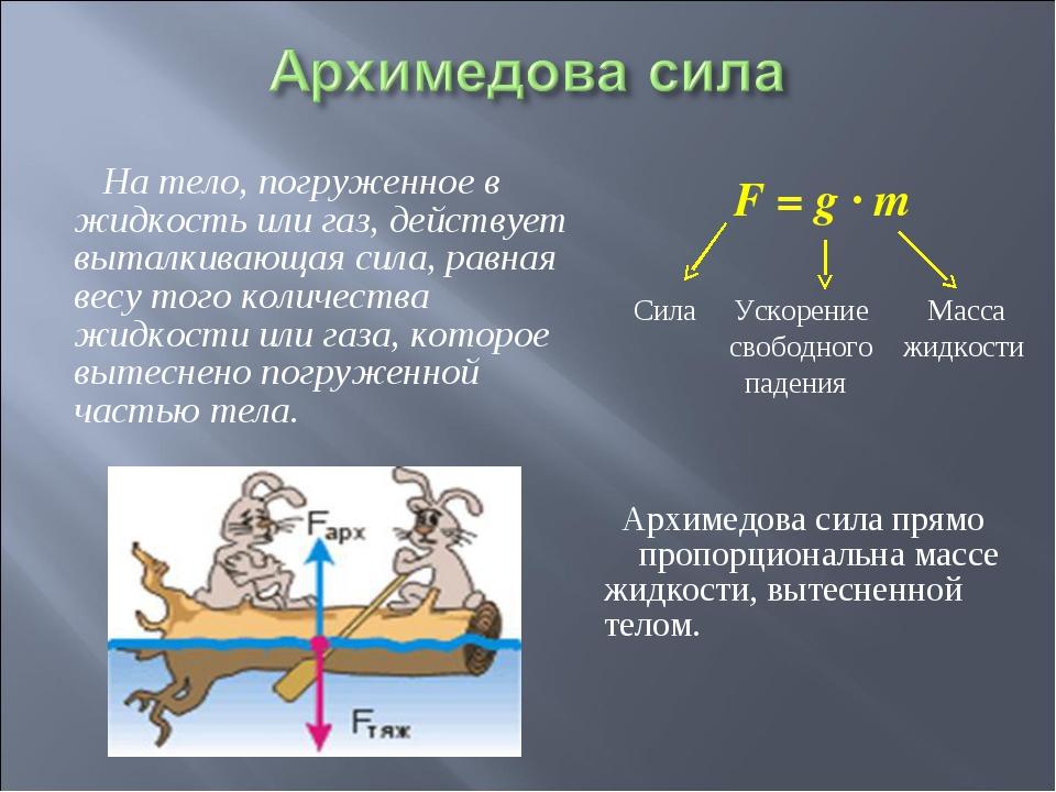 На тело, погруженное в жидкость или газ, действует выталкивающая сила, равна...