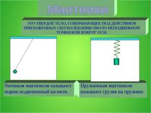 Нитяным маятником называют шарик подвешенный на нити. Пружинным маятником наз