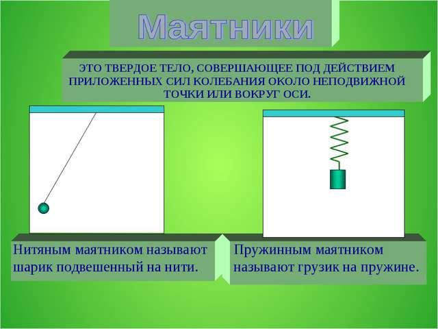 Нитяным маятником называют шарик подвешенный на нити. Пружинным маятником наз...