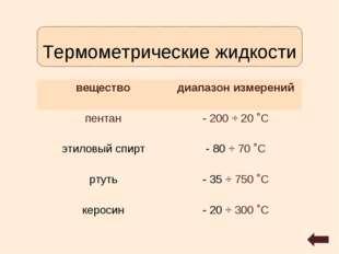 Термометрические жидкости веществодиапазон измерений пентан- 200 ÷ 20 ˚С эт