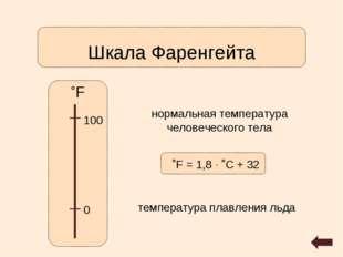Шкала Фаренгейта ˚F 0 100 нормальная температура человеческого тела температу