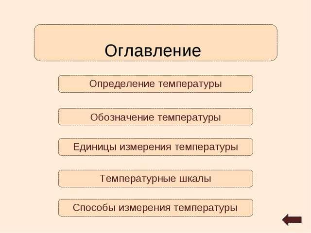 Определение температуры Оглавление Температурные шкалы Обозначение температур...