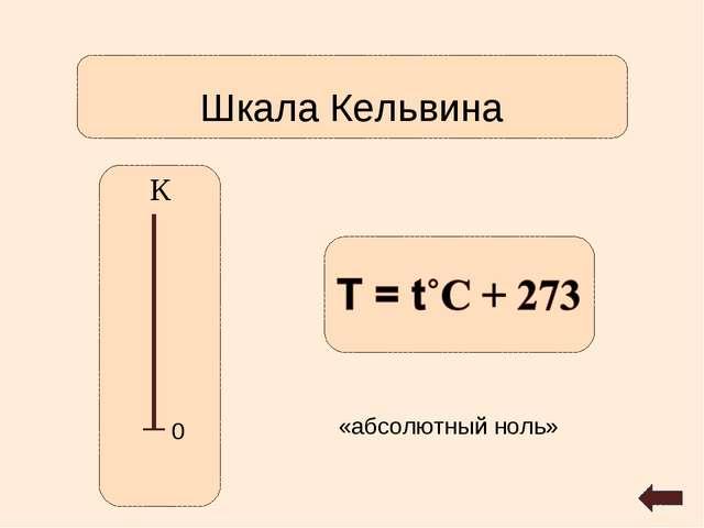 Шкала Кельвина К 0 «абсолютный ноль»