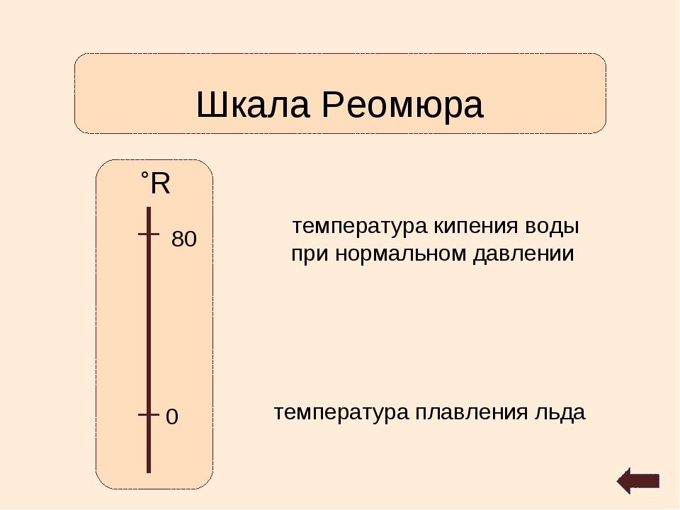 Шкала Реомюра ˚R 0 80 температура кипения воды при нормальном давлении темпер...