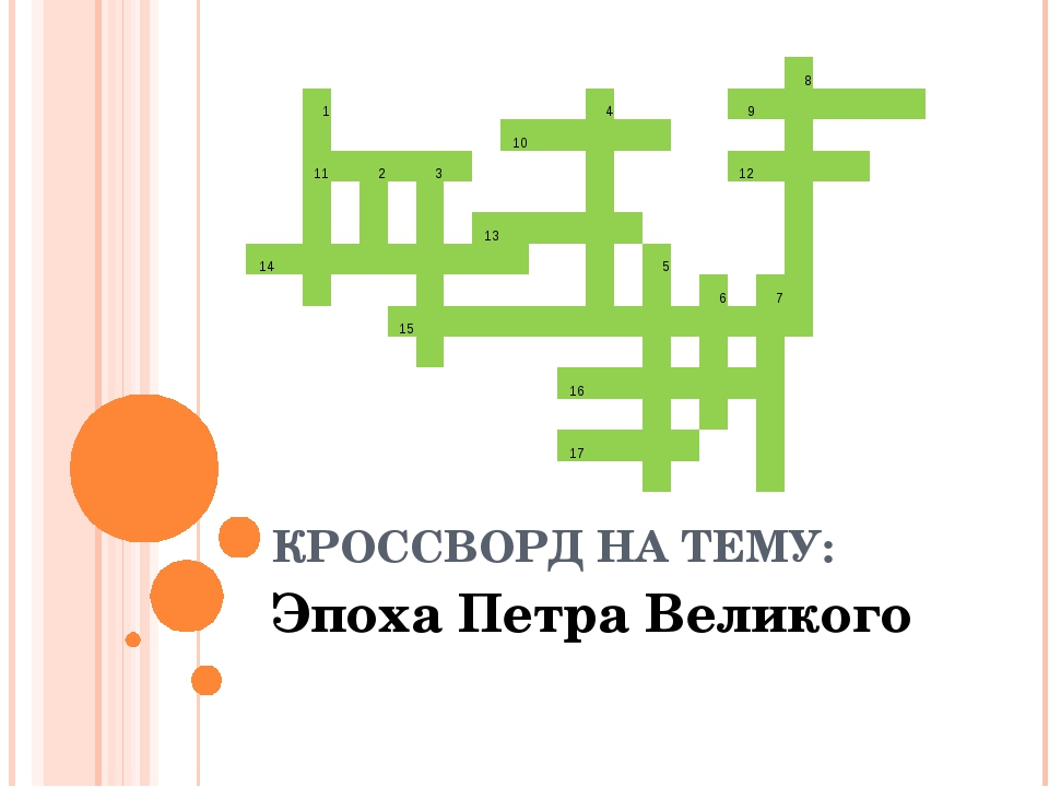 КРОССВОРД НА ТЕМУ: Эпоха Петра Великого  8 1...