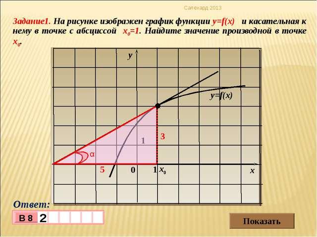 Задание1. На рисунке изображен график функции y=f(x) и касательная к нему в т...