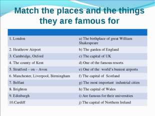 Match the places and the things they are famous for 	 1. London	a) The birthp