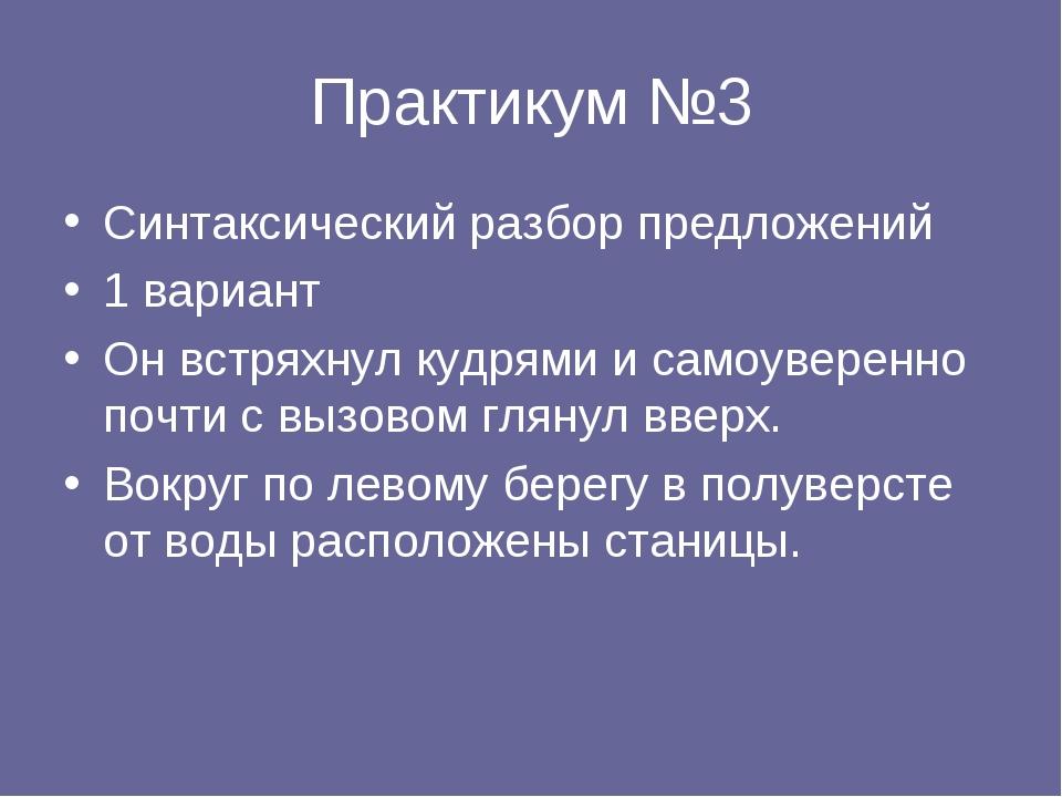 Практикум №3 Синтаксический разбор предложений 1 вариант Он встряхнул кудрями...
