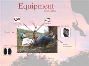 Equipment Gloves Climbing harness Boots (with good grips) Knee pads Elbow pad