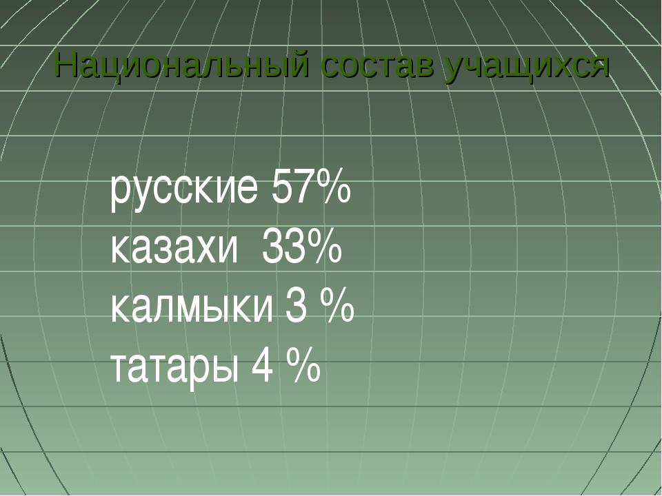 Национальный состав учащихся русские 57% казахи 33% калмыки 3 % татары 4 %