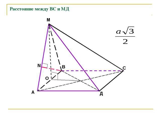 Расстояние между ВС и МД А В С Д М О N