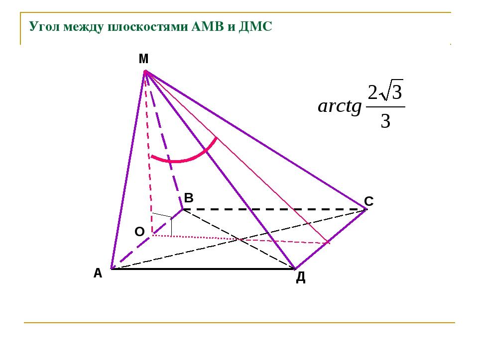 Угол между плоскостями АМВ и ДМС А В С Д М О