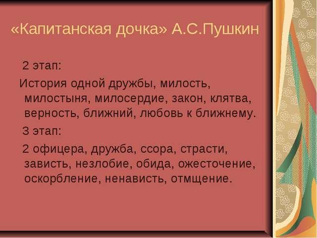 «Капитанская дочка» А.С.Пушкин 2 этап: История одной дружбы, милость, милосты...