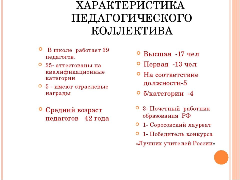 ХАРАКТЕРИСТИКА ПЕДАГОГИЧЕСКОГО КОЛЛЕКТИВА В школе работает 39 педагогов. 35-...