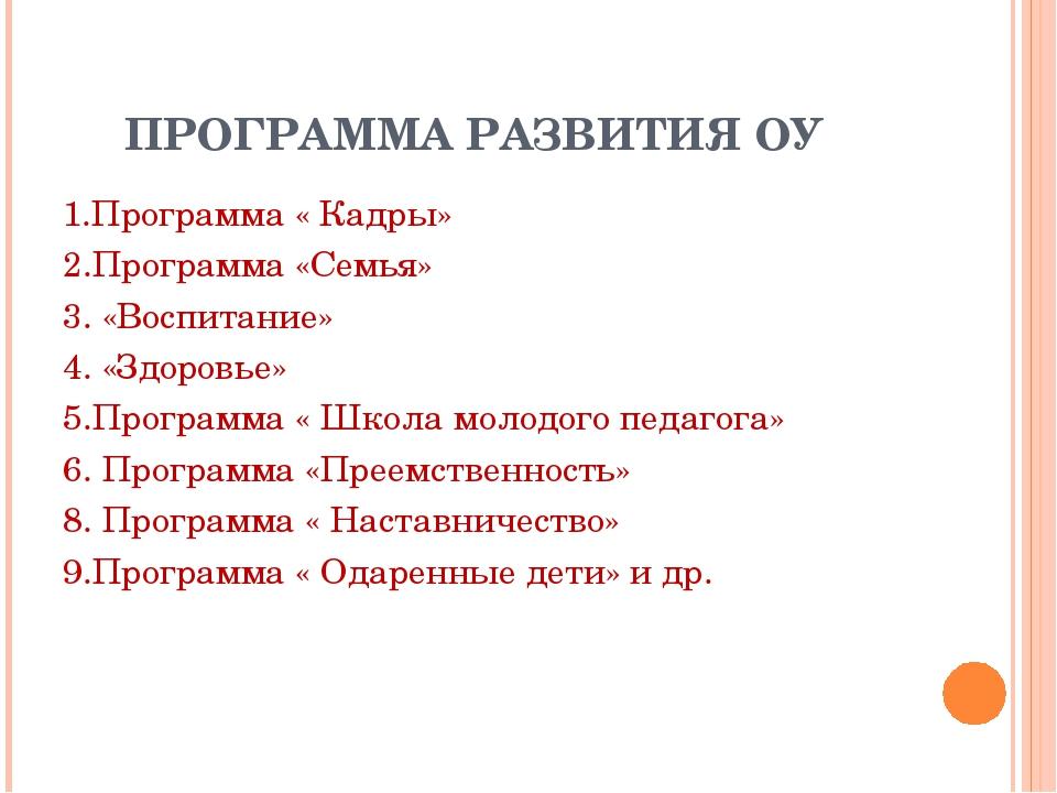 ПРОГРАММА РАЗВИТИЯ ОУ 1.Программа « Кадры» 2.Программа «Семья» 3. «Воспитани...