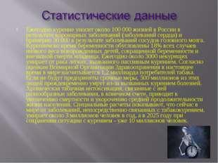 Ежегодно курение уносит около 100 000 жизней в России в результате коронарных