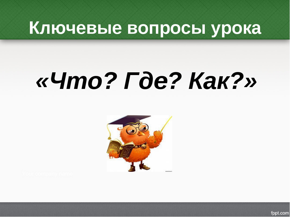 Ключевые вопросы урока «Что? Где? Как?»