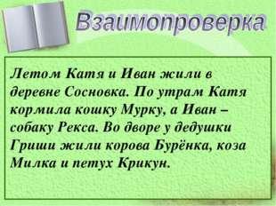 Летом Катя и Иван жили в деревне Сосновка. По утрам Катя кормила кошку Мурку,