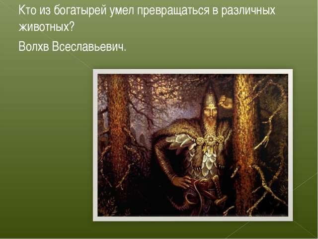 Кто из богатырей умел превращаться в различных животных? Волхв Всеславьевич.