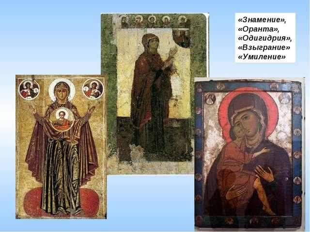 «Знамение», «Оранта», «Одигидрия», «Взыграние» «Умиление»
