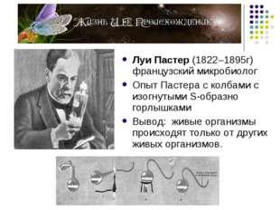 Луи Пастер (1822–1895г) французский микробиолог Опыт Пастера с колбами с изог