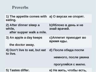 Proverbs 1) The appetite comes with eating.	a) О вкусах не спорят. 2) After