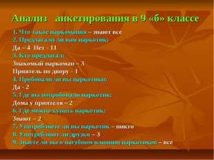 Анализ анкетирования в 9 «б» классе 1. Что такое наркомания – знают все 2. Пр