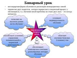 Бинарный урок нестандартная форма обучения по реализации межпредметных связей