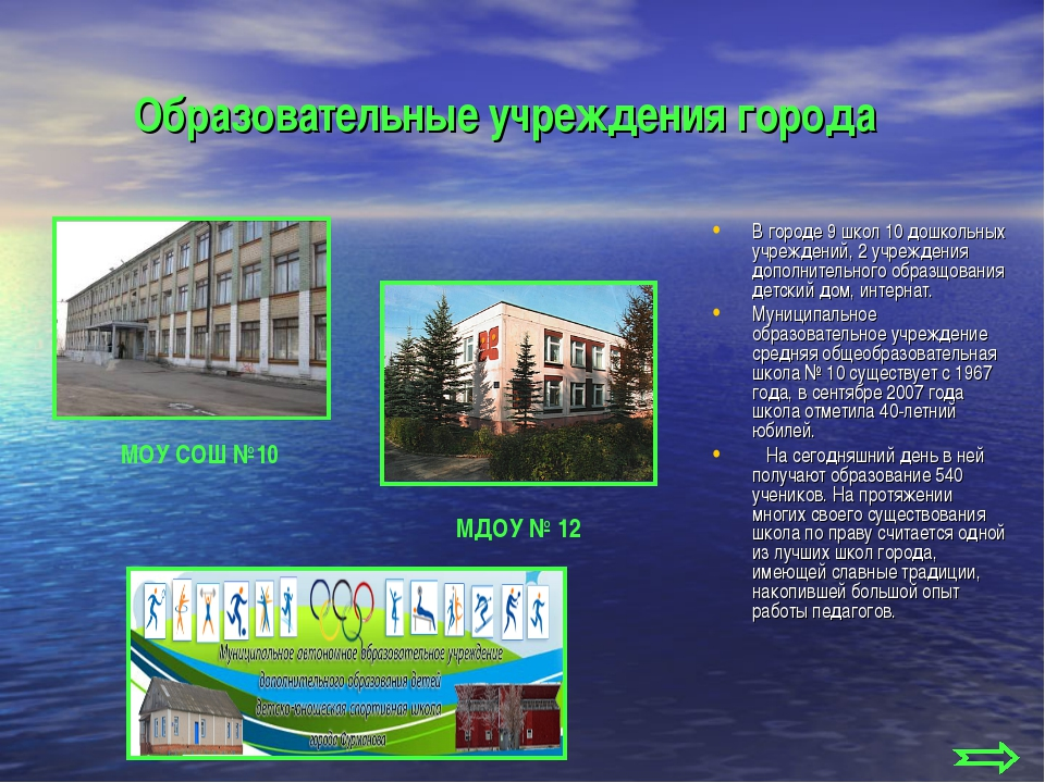 Образовательные учреждения города В городе 9 школ 10 дошкольных учреждений, 2...