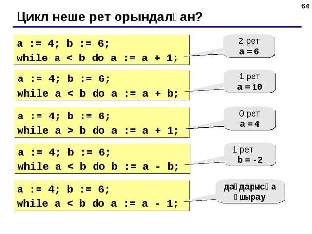 * Цикл неше рет орындалған? a := 4; b := 6; while a < b do a := a + 1; 2 рет...