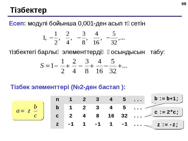 * Тізбектер Есеп: модулі бойынша 0,001-ден асып түсетін тізбектегі барлық эле...