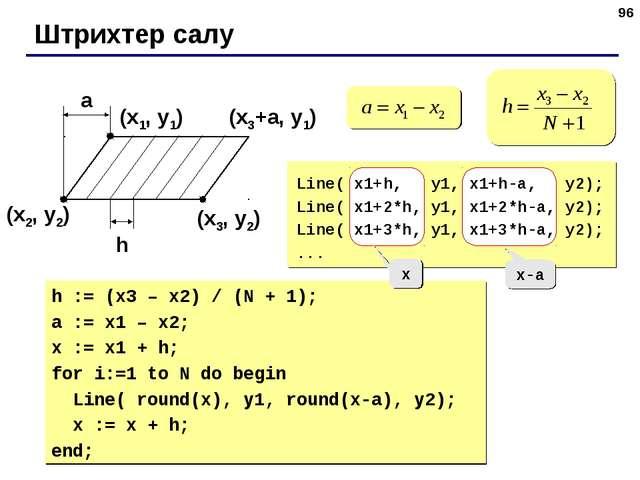 * Штрихтер салу (x1, y1) (x2, y2) (x3, y2) a h (x3+a, y1) Line( x1+h, y1, x1+...