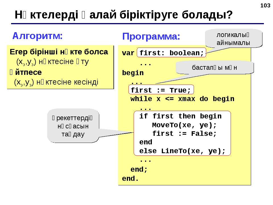 * Нүктелерді қалай біріктіруге болады? Алгоритм: Егер бірінші нүкте болса (xэ...