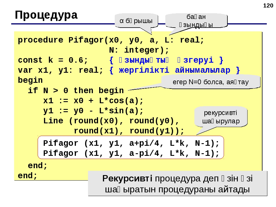 * Процедура α бұрышы баған ұзындығы procedure Pifagor(x0, y0, a, L: real; N:...