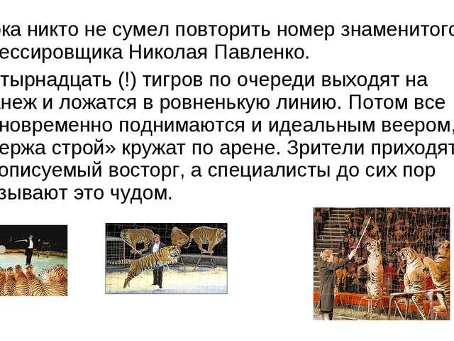 Пока никто не сумел повторить номер знаменитого дрессировщика Николая Павленк...
