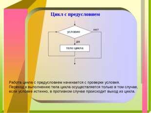 Цикл с предусловием Работа цикла с предусловием начинается с проверки условия